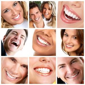 zdrowe zęby i dziąsla różnych ludzi